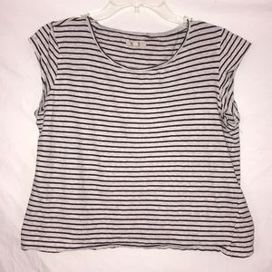 MADEWELL Striped Brown Mid Crop Top Large